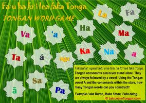 Tongan Alphabet word game