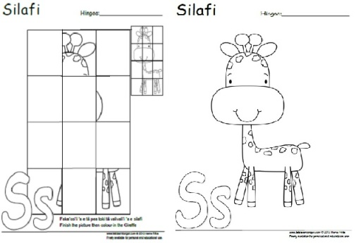 Tongan Letter S Activity: complete and colour